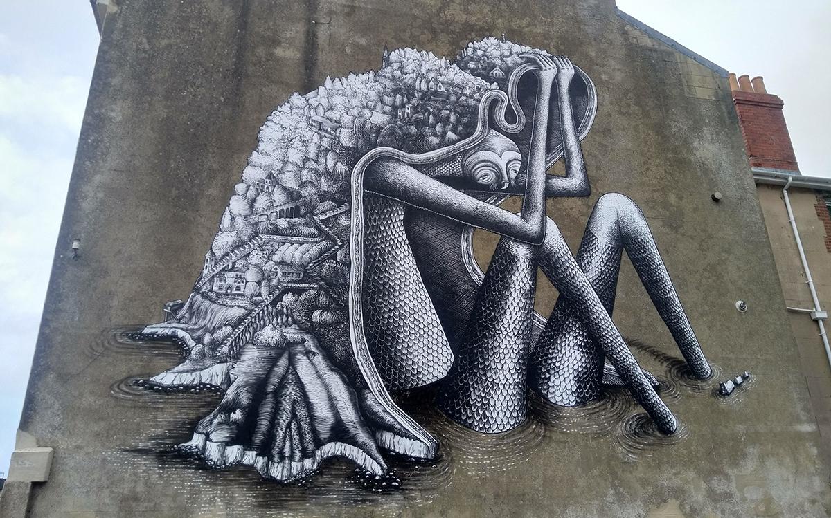 The Ventnor Giant, by street artist Phlegm. Photo: Julian Winslow